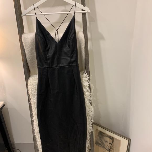 Black Leather Bodycon Dress